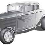 32 Ford High Boy Coupe vector illustration